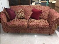 Two Seater Bed Settee Red Patterned Sofa with Cushions
