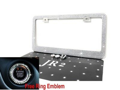 White Bling Diamond Rhinestone METAL License Plate Frame+Free Bling Ring Emblem