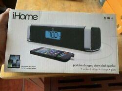 NEW IHOME IHM45B PORTABLE CHARGING ALARM CLOCK SPEAKER WAKE & SLEEP CHARGE PLAY
