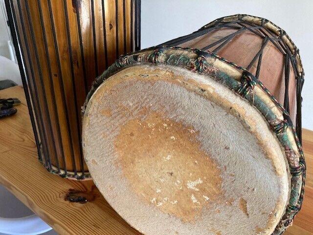 "15"" and 11"" Original African Wooden DunDun Drums. Pair, Used, Professional Grade"