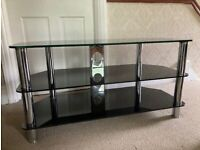 Black Glass TV Stand Large for 50 inch TV SAFETY GLASS - can deliver local