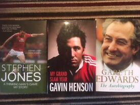 3 Welsh ex-rugby players Autobiography hardback books