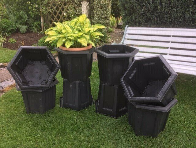 Stewart Garden Black Regency Planters 4 Square 8 Hexagonal