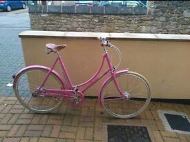 Pashley poppy in baby pink. Ladies bike