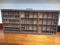 Vintage Retro Print Tray, Printers Typeset Block Letter Wooden Drawer Display