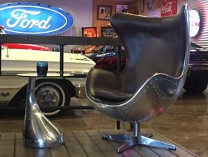 Aluminum and Leather Aviator Chairs