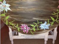 Hand painted dropleaf table - shabby chic