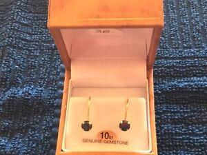 10 Kt. gold blue sapphire earrings