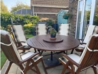 Royal craft garden table with 6 adjustable chairs - good condition
