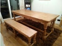 Pine table with pine benches