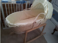 Moses Basket with Wooden Stand - Unisex - As New