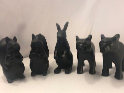 """2 Bear  2 Squirrel  1 Rabbit 3.5""""ish Black Ceramic Figurine Sculpture Deco Style"""