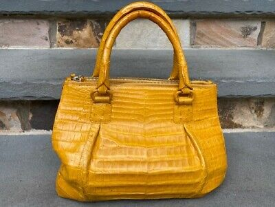 Nancy Gonzalez Duel-Zip Yellow Crocodile Tote Handbag with Dust Bag