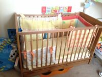 Cot with mattress and roll out storage drawer, great condition