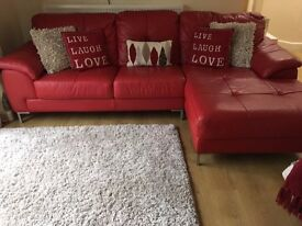 Modern Designer Immaculate Red Leather Sofa and matching Leather Arm Chair For Sale