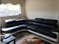 Black and white corner sofa and 2 seater