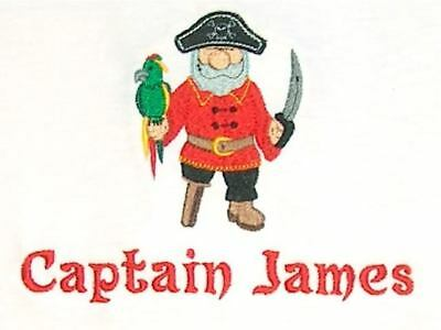 Personalized PIRATE Captain with Parrot Boy or Girl Just Name or Birthday Shirt](Girl Pirate Names)