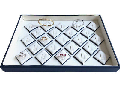 White With Blue Faux Leather Rings Bangles Jewelry Display Holder Showcase Tray