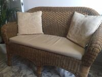 Wicker/rattan furniture set, sofa, 2x armchairs, coffee table, all matching, with cusions