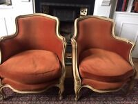 Matching 19th century French antique arm chairs
