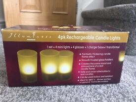 4 PACK RECHARGEABLE CANDEL LIGHTS ***BRAND NEW BOXED ***