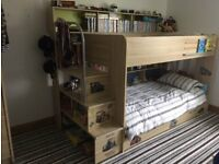Parisot Kids Bunk Beds with reversible shelf panel and underbed storage drawer