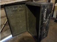 Metal box travel trunk 80cm by 47cm by 30cm deep lockable