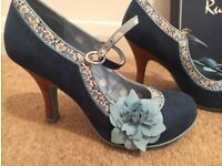 Ruby Shoo Womens Blue Suede High Heels Size 4