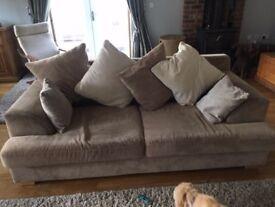 3 Seater beige and cream sofa