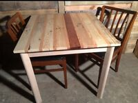 2 seater table and chairs with handmade table top