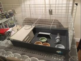 New Rabbit/ Guinea Pig/ Small animal indoor cage with all accessories and 3 x ceramic food bowls