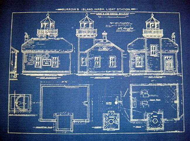 Vintage Lighthouse Blueprint at Burrows Island WA 1906 18x22  (233)
