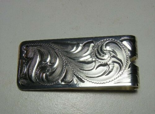 Western Hand Engraved sterling silver plated Money Clip