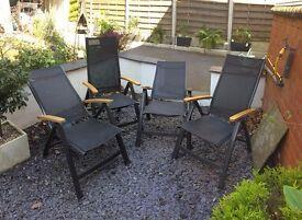 Set of 4 Recliner Garden Chairs