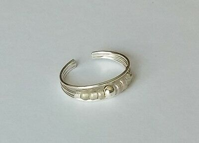 .925 Sterling Silver Adjustable Beaded Pearl Style Toe Ring New!