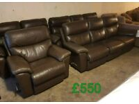 Brown leather Lazboy 3 seater & chair recliner