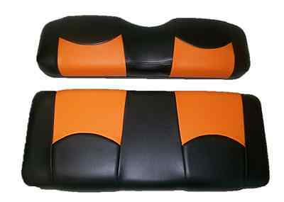 - E-Z-GO Golf Cart Vinyl Seat Covers-Stapled On-(Blk/Orng Top)