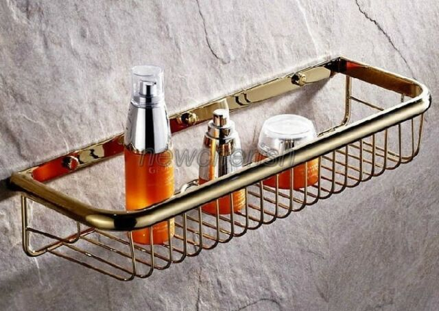 Luxury Golden Brass Wall Mounted Bathroom Shower Storage Basket Shelving nba096