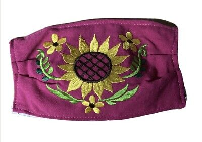 Handmade Embroidered Reusable Face Mask Flowers Mexican Style Artwork Purple