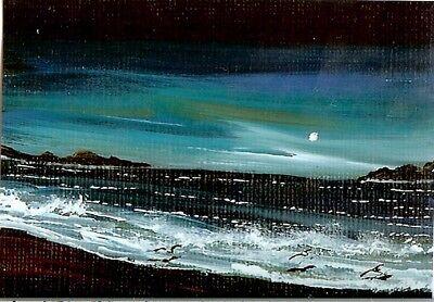 Seaside Rocks - ACEO GLOSSY PRINT Rocks Shore Beach Sand Seaside Ocean Moon Art Print HYMES
