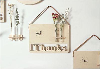Thanks Flower Wooden Wall Clock Gift Clock Modern Art Design Home Decor Interior