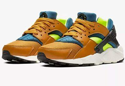 Nike Huarache Run (GS) Desert Blue-Volt Big Kids Sz 7Y Running Shoes 654275-701