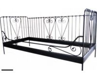 Ikea Black Day Bed Black Metal Frame Mattress and Toppet as new