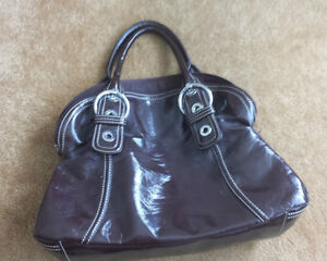 Brown faux patent leather purse
