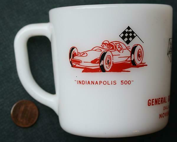 1964 Indianapolis,Indiana Indy 500 Freemasons Masonic Home milkglass mug-cup!*