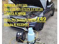 Aircon Regas, Aircon Recharge Service Car Air Conditioning mobile service AC R134a