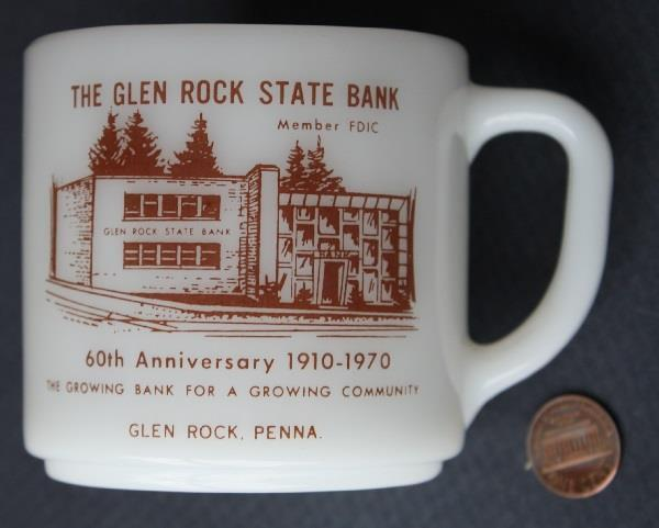 1970 Glen Rock Pennsylvania State Bank 60th Anniversary Milkglass mug-VINTAGE!