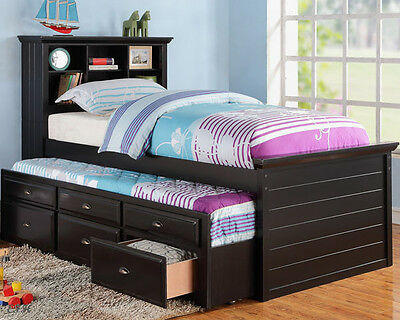 Cherry Wood Twin Beds - NEW RIVER BLACK OR CHERRY FINISH WOOD BOOKCASE TWIN BED w/ TRUNDLE & DRAWERS