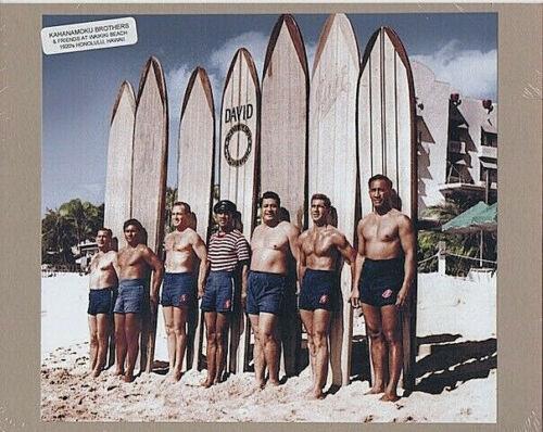 "KAHANAMOKU FRIENDS/BROTHERS 1927? WAIKIKI HAND COLORED FOTO ON 8X10"" MAT BOARD"