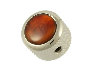 Q-Parts Faux Tortoise and Chrome Dome Knobs for Electric Guitar and Bass
